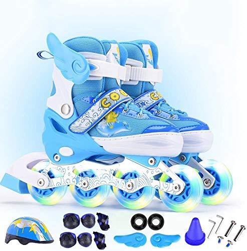 Qianqiusui Patinaje en línea patinaje patines gama ajustable for niños patines de hombres y mujeres en línea intermitentes niños principiantes rueda niño patines juego de los niños muchacha del muchac