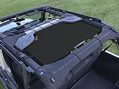 ALIEN SUNSHADE Jeep Wrangler Mesh Shade Top Cover with 10 Year Warranty Provides UV Protection for Rear Passengers 4-Door JKU (2007-2017)