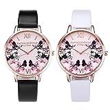 JSDDE Lot de 2 Montres, Tendance Papillon Fleurs Montre Bracelet de Bâle Style Femme PU Bracelet en Cuir Or Rose à Quartz analogique Horloge