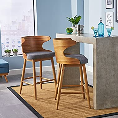Great Deal Furniture | Truda Mid Century Modern Fabric Barstools | Set of 2 | in Light Grey