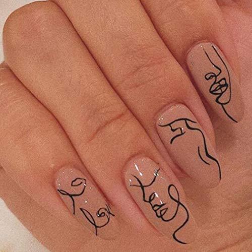 Brishow Sarg Künstliche Nägel Kurze Falsche Nägel Line Art Drücken Sie auf die Nägel Ballerina Acryl Full Cover Stick auf die Nägel 24 Stück für Frauen und Mädchen