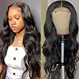Human Hair Closure Wig Brazilian Body Wave Wig 22 Inch Free Part for Women Human Hair Lace Wigs 4x4 Closure Body Wave Wig Pre Plucked with Baby Hair Natural Color (22 Inch)