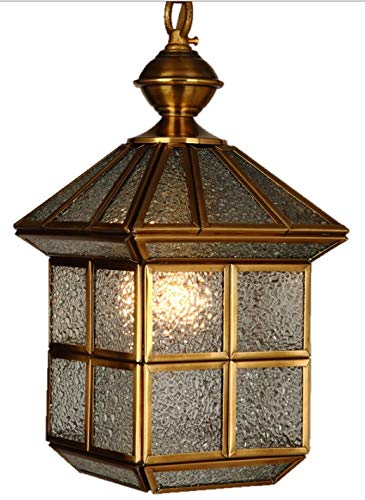 Zenghh Marco de cobre nuevo luz al aire libre del jardín de la lámpara de oro esmerilado de Cristal de Pantalla de techo Luz pendiente de la pared interior del pórtico Lámpara colgante Pergola red Par
