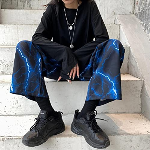LKHJ Pantalones de chándal de Contraste con Cintura elástica, Ropa de Calle para Hombre y Mujer, Pantalones Coreanos Harajuku Punk Hip Hop, Pantalones de chándal, Ropa-Azul_L