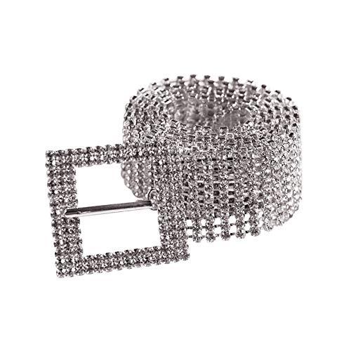 GQMG Cintura sexy con imbracatura, cintura con strass da donna dieci file con bretelle a fascia larga con cinturino a diamante