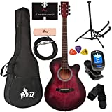 WINZZ 40 Inches Cutaway Acoustic Guitar Beginner Starter Bundle with Online Lessons, Padded Bag, Stand, Tuner, Pickup, Strap, Picks, Red