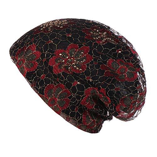 Feli546Bruce Gorro de Encaje de Flores Vintage con Diamantes de imitacin Transpirable para Mujer Rojo Rosso Talla nica
