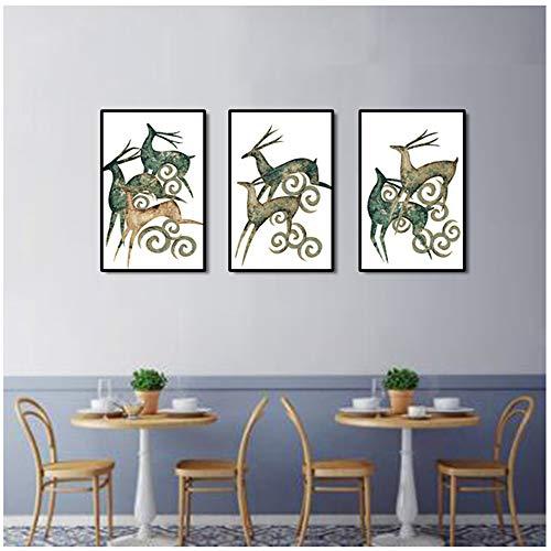 Canvas Wall Art Schilderijen Herten Cartoon Decoratief Schilderen Voor Slaapkamer Kamer Home Decor Dieren Posters en prints 60x90 cm / 23,6