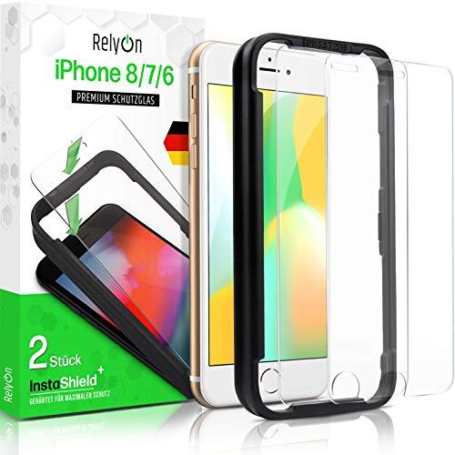 RelyOn Panzerglas kompatibel mit iPhone 8, iPhone 7, iPhone 6s, iPhone 6 Schutzfolie [2 Stück] mit Installationsrahmen, Premium Panzerfolie Japanische ASAHI Panzerglasfolie