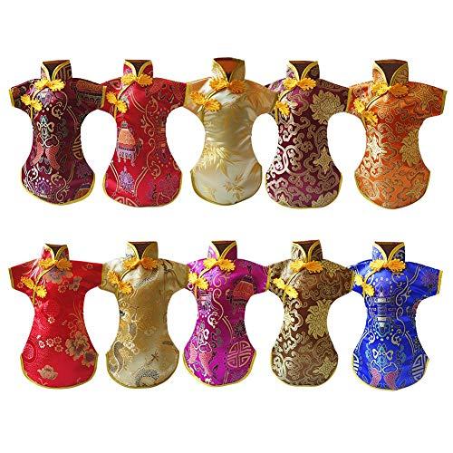 1pc Botella De Vino Cubierta, Hecha a Mano Los Trajes Orientales Vestido Chino Brocado Cheongsam del Paño del Estilo Botella De Vino Rojo De La Cubierta, Champagne Carcasa Protectora (Color Azar)