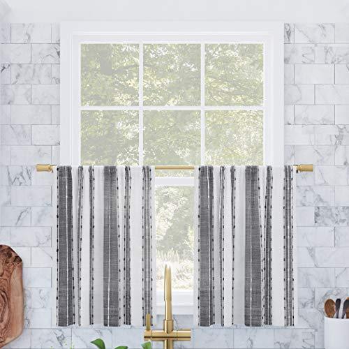 "Archaeo Cassidy Slub Texture Stripe Cotton Cafe Curtain Pair, 52"" x 36"" Kitchen Tier, Black/White"