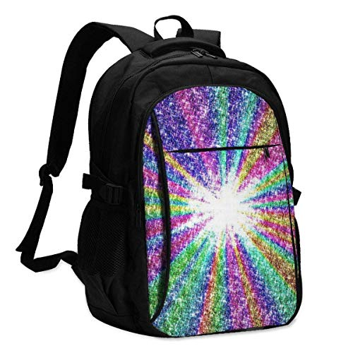 asfg Resistente a Las Manchas Rainbow Color Multifunctional Personalized Customized USB Backpack, Student School Outdoor Backpack,Travel Bag Laptop Bookbags Business Daypack.