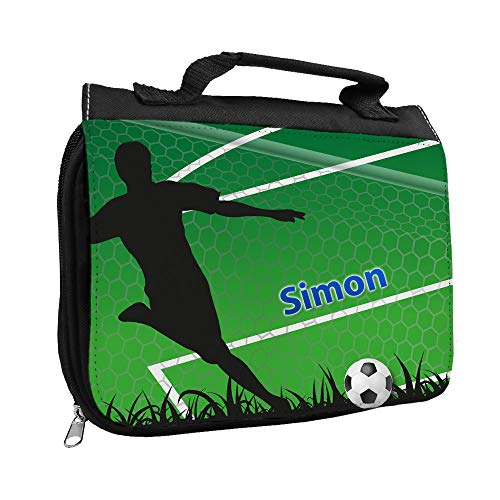 Kulturbeutel mit Namen Simon und Fußballer-Motiv mit Tor für Jungen | Kulturtasche mit Vornamen | Waschtasche für Kinder