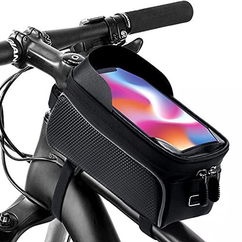 KOLADEK Fahrradtasche Fahrrad Rahmentasche Wasserdicht Oberrohrtasche Handyhalter Fahrrad für Smarten Stauraum (Black)