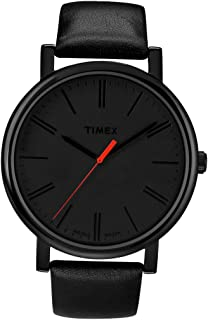 Timex Easy Reader Black Dial Leather Strap Men's Watch T2N794
