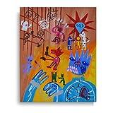 Cuadro acrílico sobre lienzo pintado a mano 40 x 50 arte moderno - título de la obra 'Justicia Fallmentare'