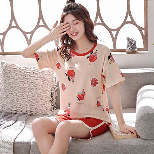 Kllomm Pyjama Sets Frauen Sommer Nachtwäsche Soft Home Koreanische Stil Damenbekleidung Loose Leisure Breathable Sweet Daily-M