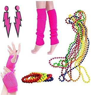 BigLion 80er Party Kleid Zubehör Beinwärmer Blitz Neon Ohrringe Fischnetzhandschuhe Kunststoff Neon Mehrfarbig Perlenkette Perlen Halsketten Fluoreszierende Perlen Party Kostüm Zubehör Set (A3)