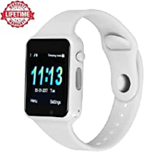 Upgrade 2018,Smart Watch Kkcite Bluetooth Touch Screen SmartWatch Unlock Cell Phone SIM 2G GSM with Camera Sleep Monitor, Push Message, Anti Lost etc for Men Women Kids (Spray White)