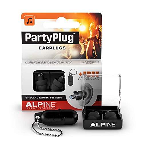 Tappi Alpine PartyPlug – Goditi le feste, i festival e i concerti in sicurezza – ottima qualità della musica – materiale ipoallergenico confortevole – tappi riutilizzabili – Nero