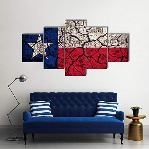 ARIE Leinwanddrucke 5 Stück Leinwand Bilder Wanddeko Wand Texas-Flagge Hd Poster Kunstwerke Malerei Weihnachten Kreative Geschenke
