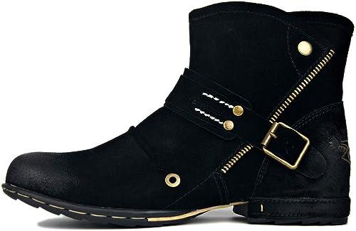 Stiefel de Cuero Casuales de los herren, schuhe Altos y cojos Stiefel de Herramientas Impermeables Martin Stiefel Oxford