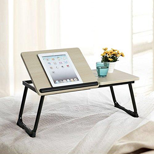 Tavolino per Notebook scrivania Regolabile Furniturer Comodino scrivania Pieghevole Stabile Supporto Divano Letto scrivania Black