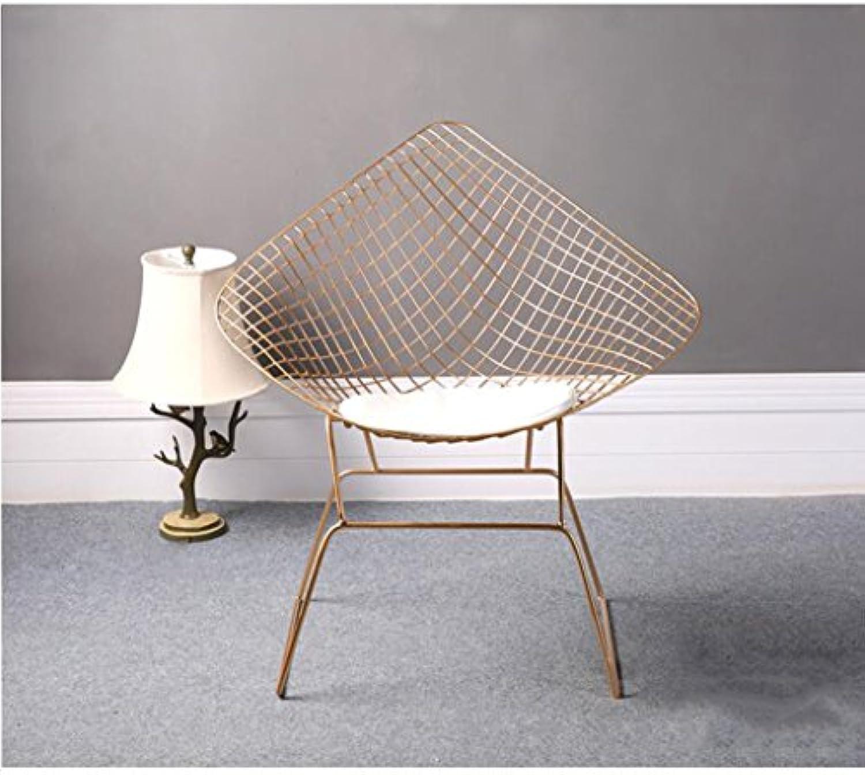 YIDIAN Moderner Hohler Drahtstuhl kreativer Schmiedeeisen-Schemel-Einfacher Designer-Stuhl (Gold) 85CM  55CM  45CM