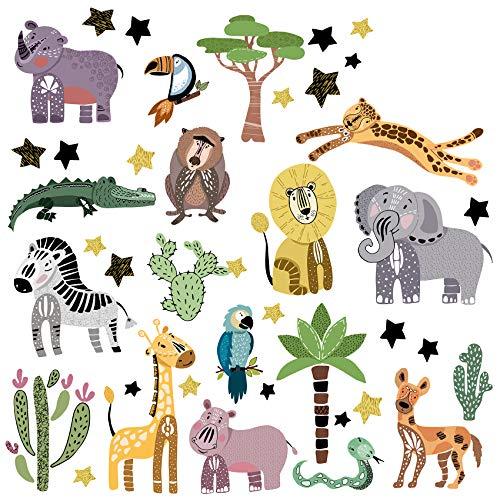 Adesivi da parete Safari XL, set di animali selvatici africani adesivi da parete per cameretta dei bambini, camera dei bambini, cameretta dei giochi, ragazze e ragazzi