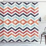 Ambesonne Geometric Shower Curtain, Zig Zag Lines Chevron Orange White
