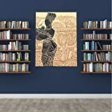 WDDHOME Sombrero de béisbol de Verano Africano Hermoso Retrato de Mujer Dibujada Gorra de Moda para Mujer 1.5 Pulgadas de Espesor Estirado Obra Lista para Colgar Decoración de Pared sobre Lienzo