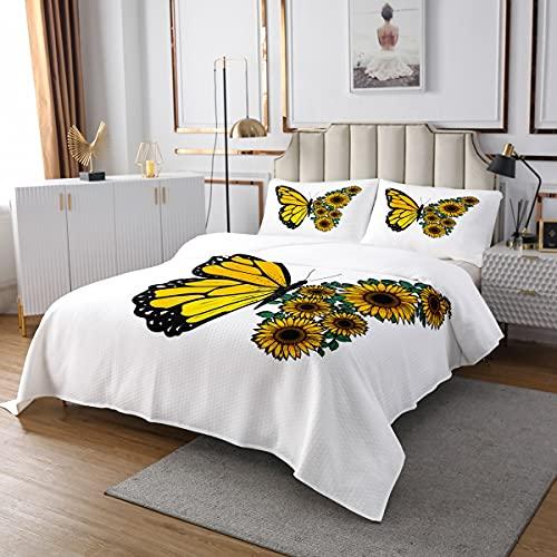 Erosebridal - Juego de colcha de girasol, tamaño queen, diseño de mariposas, amarillas, acolchado, floral, para niños, adultos y mujeres, estilo pastoral, con 2 fundas de almohada, color blanco