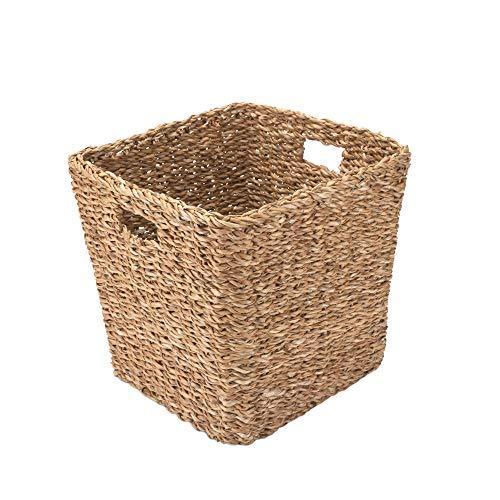 Gruener Handel Papierkorb Seegras Eckig mit Eingriff - Natur - Handarbeit - Fair Trade (30x30cm)