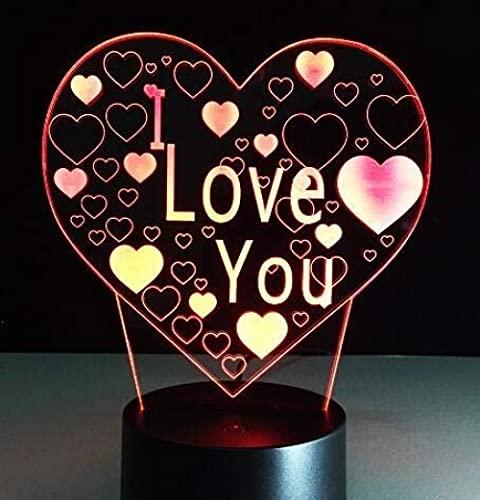 Lámpara de noche 3D bebé niño mesa amor corazón USB Touch Rc remoto 7 colores cambiantes fiesta regalos lámpara cumpleaños luces decoración habitación noche luz hogar regalo ilusión decoración