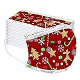 Lulupi 50 Stück Kinder Mundschutz Multifunktionstuch Weihnachten Einweg Mund und Nasenschutz 3-lagig Staubdicht Weihnachtsmotiv Mund-Nasen Bedeckung Weihnachts Halstuch für Jungen und Mädchen