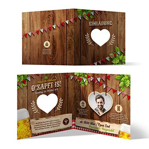 Lasergeschnittene Einladungskarten (30 Stück) Oktoberfest Geburtstag Bayern - O'zapft is! Rot mit Foto