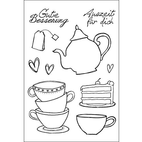 Efco Stempel Clear Tee / Kaffee, transparent, A7/ 74 x 105 mm, 10-teilig