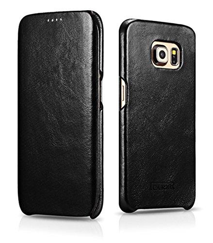 ICARER Tasche passend für Samsung Galaxy S6 Edge (SM-G925), Hülle mit echtem Leder, Schutz-Hülle seitlich klappbar, Ultra-Slim Cover, Etui im Vintage Erscheinungsbild, Schwarz