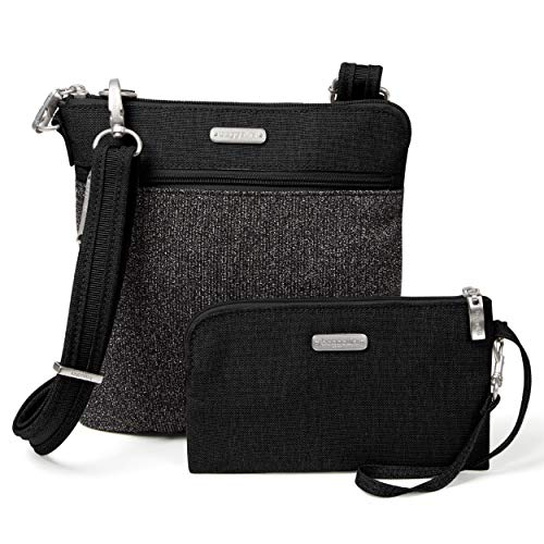 Baggallini Anti-Theft Slim Crossbody Bag - Stylish Long-Strap Purse With Locking Zippers and RFID-Protected Wristlet, Black and Gray Design