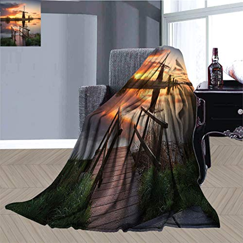 JxjwsPrints Apartment Decor Soft Cozy Throw Blanket, Landscape with Famous Dutch Windmills on Background near the Canal Photo Plush Blanket for Couch Sofa Office, 60' x 36' Orange Blue