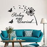 Relajarse y relajarse cita vinilo pared calcomanía decoración del hogar mural arte extraíble etiqueta de la pared58x40 cm