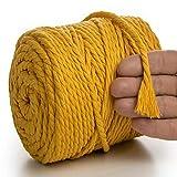 MeriWoolArt Natural cuerda de macramé de colores 6 mm, 100m macramé suave hilo, cuerda algodón reciclado para atrapasueños DIY tapiz de macramé colgantes de pared macramé babe mostaza
