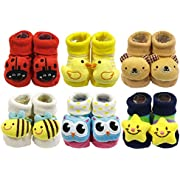 Wrapables 3D Cartoon Anti-Skid Baby Booties Sock Slippers (Set of 6), Cute, 0-12 Months
