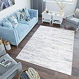 Tapiso Sky Alfombra de Salón Comedor Dormitorio Juvenil Diseño Moderno Crema Azul Vintage Moteada Suave 180 x 250 cm