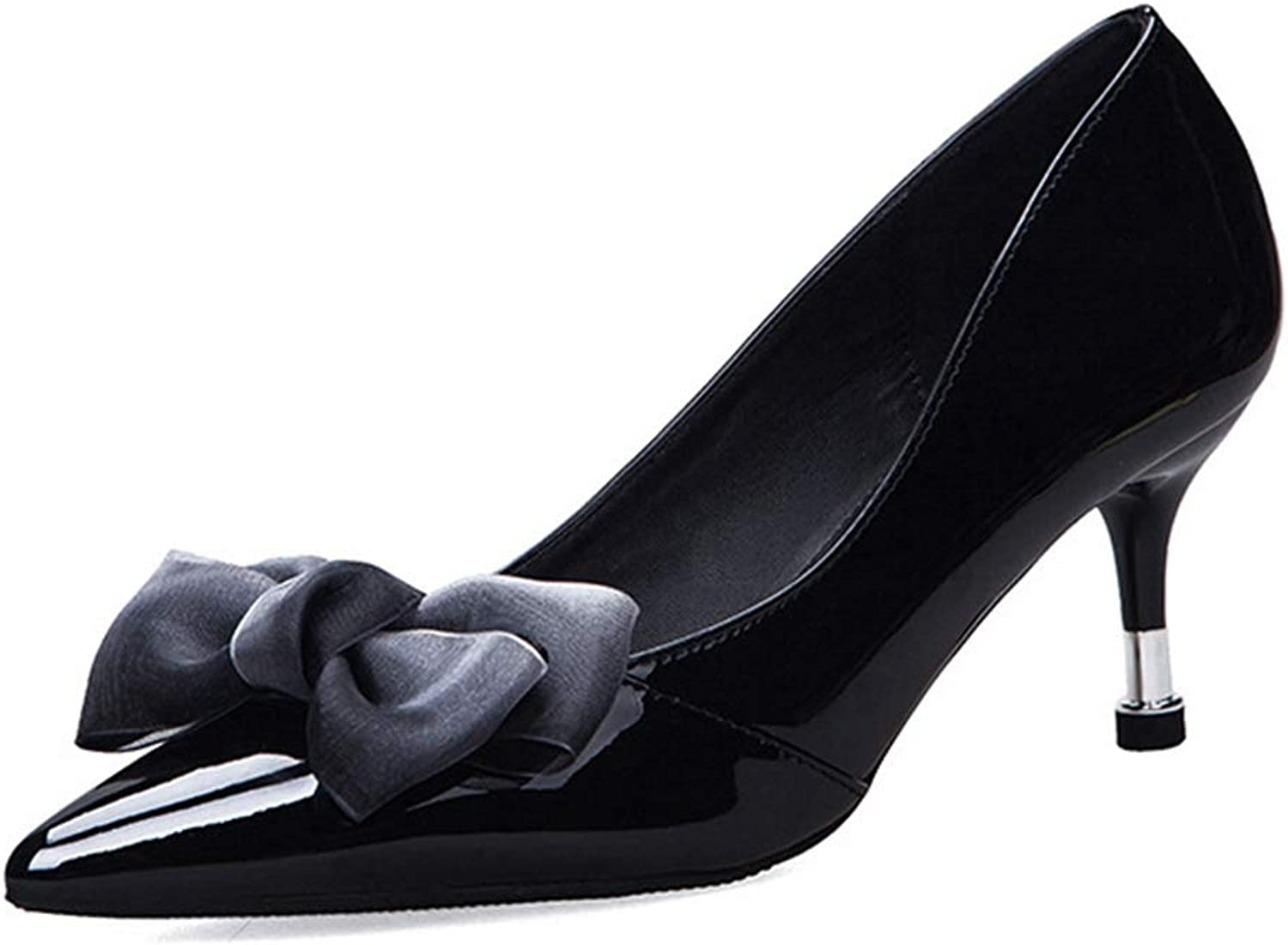 Drew Toby Women Pumps Pointed Toe Bowknot Shallow Mouth Fashion OL High Heels
