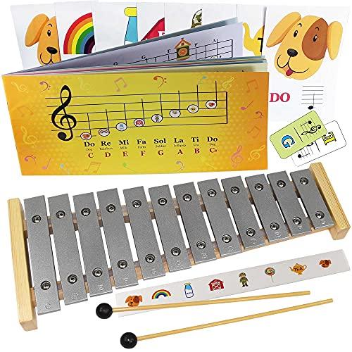 Glockenspiel 12 notas – Play-by-Pictures Xylophone hoja de música libro – 34 canciones fáciles de jugar incluidas
