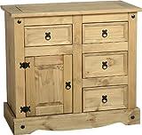 Seconique Corona 1 Door 4 Drawer Sideboard, Distressed Waxed Pine, 834.95 x 939.95 x 114.95 cm
