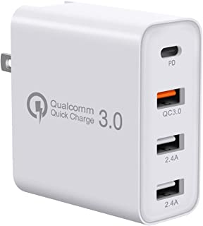 USB C Charger, GOOJODOQ 48W 4 Ports Fast Charging PD Wall Chargers with Quick Charge 3.0, Multi Port USB-C Travel Adapter for Samsung Galaxy S10/S9/S8/Plus,iPhone Xs/Max/XR