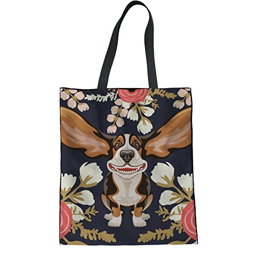 Coloranimal Floral Hound Pattern Lightweight Linen Tote Bag for Teenager Girls Boys Big Capacity Reusable Handbag Travel Hiking Beach Organization Plastic Purse