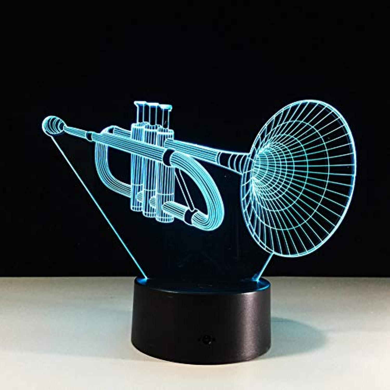 Laofan Die Trompete Acryl 3D Lampe Musikinstrumente Led 3D Nachtlicht Bunte Led Tisch Schreibtischlampe Kinder Schlaflampe,Fernbedienung